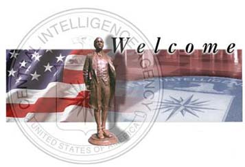 CIA welcome graphic- Nathan Hale superimposed over the CIA seal and the U.S flag