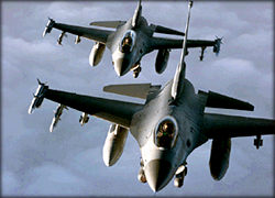 Two U.S. Air Force F-16 Fighting Falcons