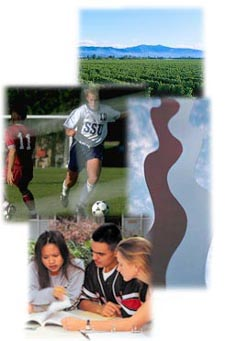 [photo montage of vineyards, campus art, and students studying and playing soccer]