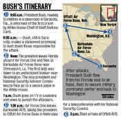 Bush Itinerary on Tuesday -- click for a larger image