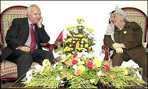EU Mid-East envoy Miguel Moratinos and Palestinian leader Yasser Arafat