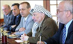 Yasser Arafat seen with senior Palestinian officials