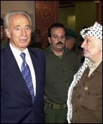 Israeli Foreign Minister Shimon Peres and Palestinian leader Yasser Arafat