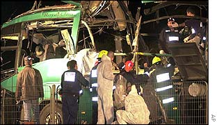 Israeli bus wreckage