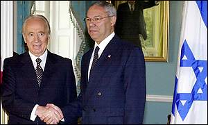 Israeli Foreign Minister Shimon Peres (L) and US Secretary of State Colin Powell