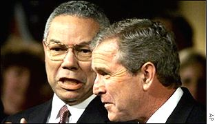 US Secretary of State Colin Powell (left) and US President George W Bush