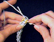 Inserting the hook in the first two loops