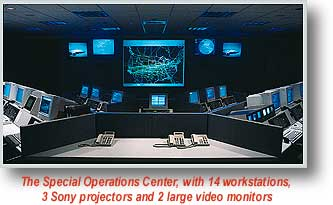 UAL Special Operations Center, with 14 workstations, 3 Sony projectors and 2 large video monitors