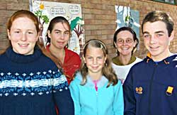 (Rear left to right) How about Asking Youth event organiser Rebecca Boots and LCC waste minimisation officer Lesley Trott with competition winners Billie Makie, Shanna Bayliss and Joseph McDermott.