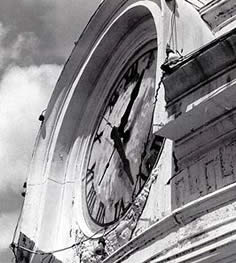 This is an image of a deteriorating clock surround on the Colorado County Courthouse, Texas, c. 1970s. Photo: NPS files.