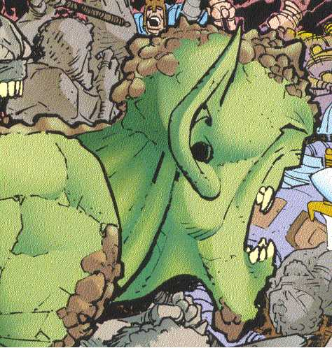 Green rock trolls are rare;  most of them are either living rocks or big orange thugs.  (Image Credit:  THORION OF THE NEW ASGODS 1, page 2.  Amalgam Comics)
