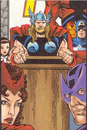 The Thunder God is an important Avenger;  here, he addresses the team.  (Image Credit:  AVENGERS 1 v.3, page 25.  Marvel Comics)