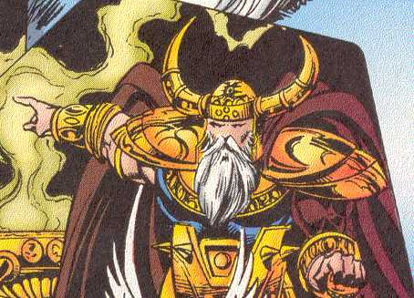 Odin may have horns, but their presence at the side of the head looks less devilish.  (Image Credit:  THOR 502 v.1, page 5.  Marvel Comics)