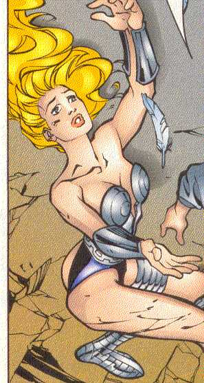 Known to the Marvel Universe as 'Valkyrie,' Brunnhilde is a ferocious and beautiful combatant.  (Image Credit:  X-FORCE/CABLE '97, page 3.  Marvel Comics)