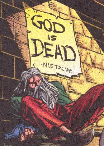 An unusually humble Odin, drunk and homeless, in a classic Marvel setting:  a rat-infested alley. (Image Credit: THOR 502 v.1, page 7.  Marvel Comics)