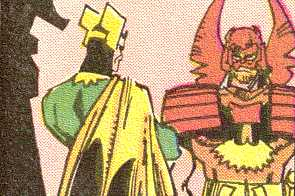 Heimdall confronts Loki, accusing him of treachery.  (Image Credit:  THOR 364 v.1, page 19.  Marvel Comics)
