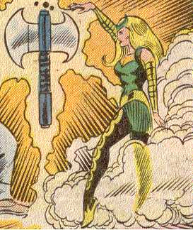 The Enchantress is a capable sorceress;  here, she levitates the mystical Bloodaxe.  (Image Credit:  THOR 403 v.1, page 9.  Marvel Comics)
