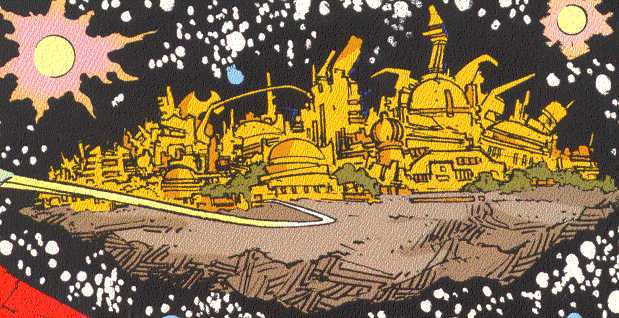 The slightly damaged, but still golden spires of fabled Asgard.  (Image Credit:  THORION OF THE NEW ASGODS 1, page 1.  Amalgam Comics)