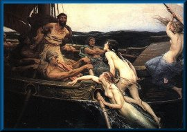 This is a painting called Odysseus and the Sirens, painted in 1891 by John William Waterhouse. It depicts a scene from Homer's Odyssey in which Odysseus endures the beautiful singing of the sirens, who attempt to seduce Odysseus into abandoning his journey homeward to Ithaca. In Homer's text, the sirens are depicted as ugly, harpy-like creatures who are singing to bring the hero to his death. In this painting, however, the sirens are beautiful women whose appearance is as enticing as their song.