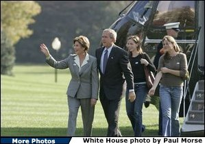 President George W. Bush and Laura Bush return to the White House with their daughters Barbara, left, and Jenna, right, Tuesday, Nov. 2, 2004. White House photo by Paul Morse.