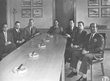 Ben Pinkel, chief of the Fuels and Thermodynamics Division, sits with staff who presented papers at the propulsion meeting of the Institute of Aeronautical Sciences [I.A.S.] March 28, 1947.