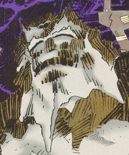 The grim, sleeping face of Ymir the Frost Giant.  (Image Credits:  THORION OF THE NEW ASGODS 1, page 16.  Amalgam Comics)