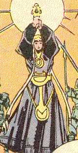 Odin's faithful wife, Frigga, holds his scepter in his absence.  (Image Credit:  THOR 364 v.1, page 18.  Marvel Comics)
