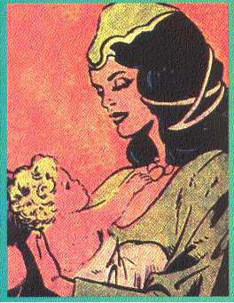 A younger, more vibrant Frigga holds her husband's son, the baby Thor, in her arms.  (Image Credit:  THOR: THE LEGEND 1, page 26.  Marvel Comics)