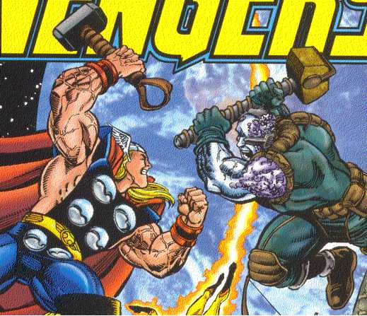 Hammers used as modern weapons:  Thor and Galen Kor have rare tastes.  (Image Credit:  AVENGERS 7 v.3, cover.  Marvel Comics)