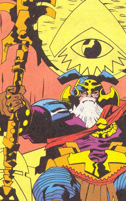 Odin wields Gungnir, the spear of battle.  (Image Credit:  THOR ANNUAL 18, page 17.  Marvel Comics)