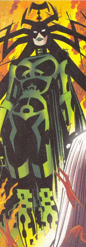 Hela stands triumphant in her kingdom.  Notice the miniature souls at her feet.  (Image Credit:  THOR 2 v.2, page 9.  Marvel Comics)