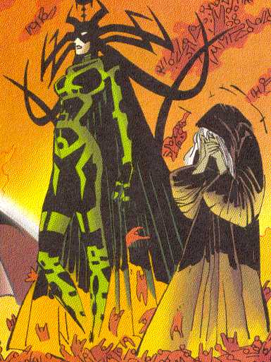 Hela pictured with her blind seeress, Volla.  (Image Credit:  THOR 2 v.2, page 14.  Marvel Comics)