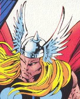 Marvel's classic Thunder God, with blond hair and eagle-wing helmet.  (Image Credit:  THOR: THE LEGEND 1, page 44.  Marvel Comics)