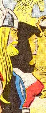 Thor beside his beloved Lady Sif;  they've been engaged, but never married.  (Image Credit:  THOR 371 v.1, page 2.  Marvel Comics)