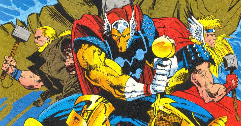 Three 'replacement Thors':  Thunderstrike, Beta Ray Bill, and Dargo Ktor.  (Image Credit:  THOR CORPS 1, cover.  Marvel Comics)