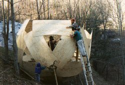 18 ft geodesic plydome, shows construction method