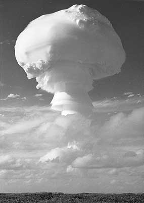 The classic shape of the mushroom cloud rises above Christmas Island, flowing the Grapple-Y test on 28 April 1958. With a yield of 3 megatons, it was Britain's biggest nuclear explosion.