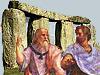 Cartoon drawing of two old men in front of part of Stonehenge