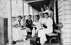 Pilliga Red Cross members knitting socks for soldiers in World War I - Pilliga, NSW