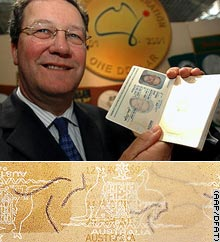 Downer shows off the new passport. Bottom: A scan of a mockup of the