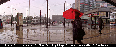 Snow falls, Piccadilly 2.15pm Tuesday 14 April BORDER =