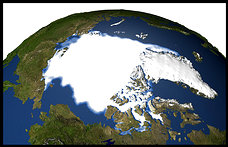 Image shows the minimum concentration of Arctic sea ice 26 years ago.