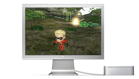 Apple Cinema Display and Mac mini playing The Incredibles.