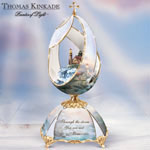 Thomas Kinkade Beacon Of Hope Musical Egg - Thomas Kinkade Lighthouse Music Box! Exclusive Limited-edition Peter Carl Faberge Style Musical Egg with 22K Gold Accents!