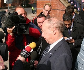 John Tyndall speaking to the media outside Leeds Magistrates Court
