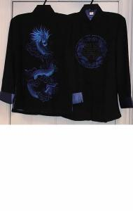 Black Jacket with Blue Dragon