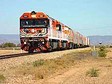 The first freight train heading for Darwin from Alice Springs in February 2004.
