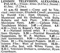 The Times TV schedule 01-09-1939