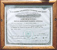 Our Captain's Coast Guard license is proudly displayed on the ship. Click to view.
