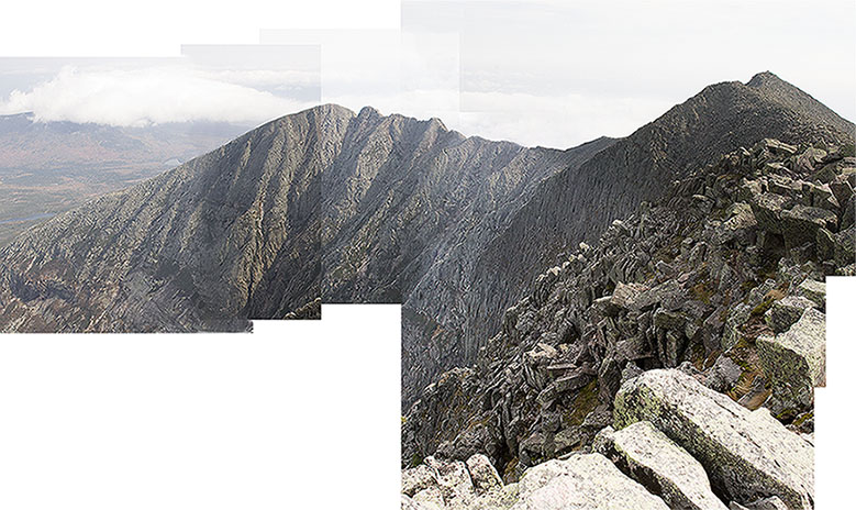 Terrible pano from Baxter Peak, Katahdin Maine; I promise to go back and get a better one